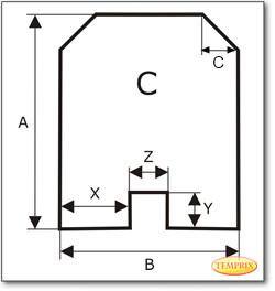 Podstawa, przezroczyste szkło, Forma C, żądanego formatu S2