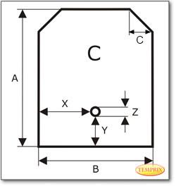 Podstawa, przezroczyste szkło, Forma C, żądanego formatu S3