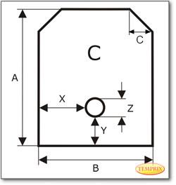 Podstawa, przezroczyste szkło, Forma C, żądanego formatu S4