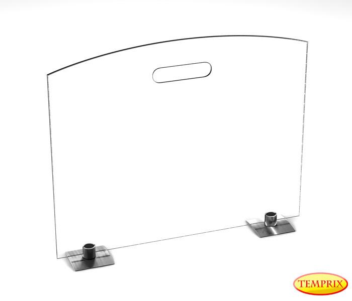 Parawan Classic, przezroczyste szkło 540mm x 600mm z nogami ze stali nierdzewnej