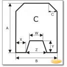 Podstawa, przezroczyste szkło, Forma C, żądanego formatu S6